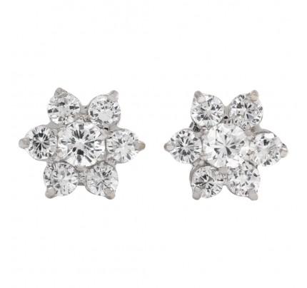 Diamond snowflakes earrings in 14k white gold