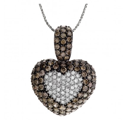 Diamond puff heart necklace 18k