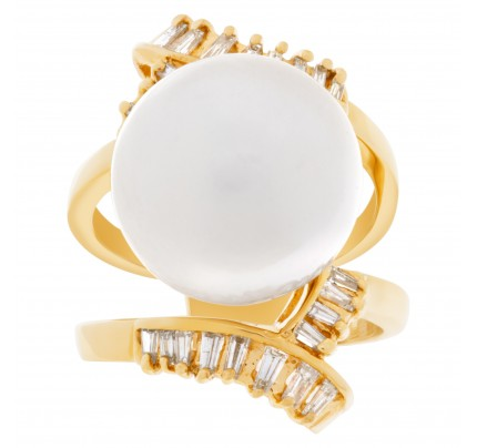 South Sea pearl ring in 18k