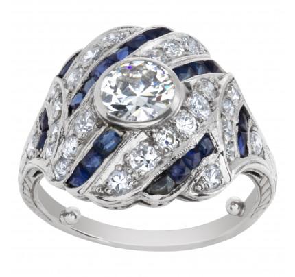 Diamond and sapphire art deco ring in platinum