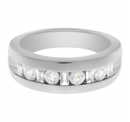 Semi eternity diamond ring in 14k white gold