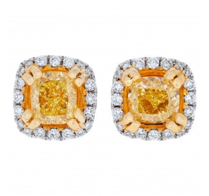 Yellow diamond stud earrings in 18k white and yellow gold