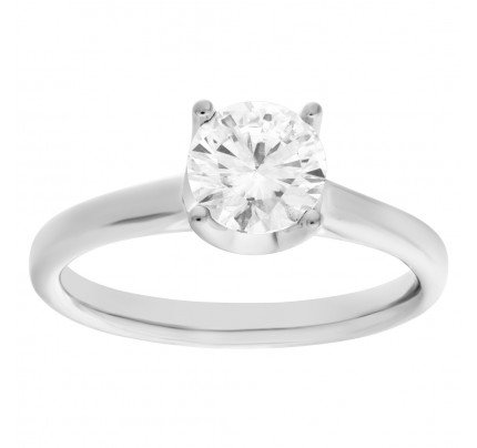 GIA certified diamond ring in 14k white gold. 1.03 carat, H color, SI2 clarity.