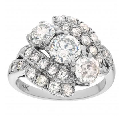 """Art Deco """"Present, Past & Future"""" diamond ring in 14k white gold"""