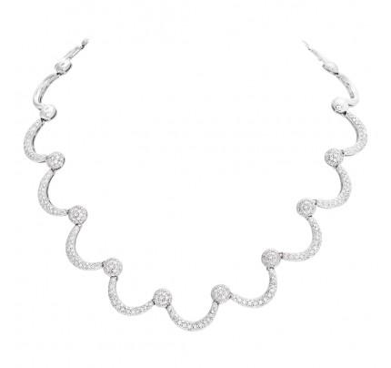 Half moon diamond necklace in 18k white gold