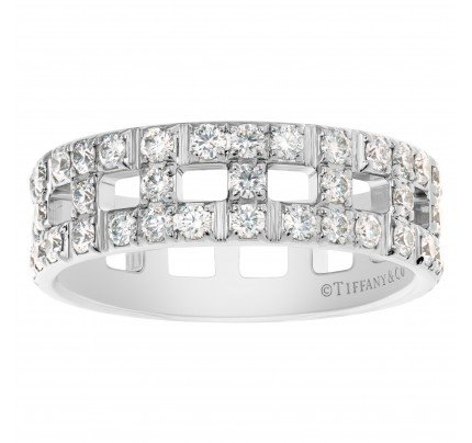 """Tiffany & Co. """"True Wide"""" Ring collection wedding band in 18k White Gold w/ diamonds"""