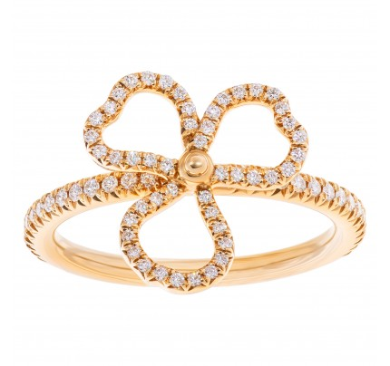 """Tiffany & Co. """"Paper Flowers"""" collection, open 3 leaves clover ring with 0.14 carat in diamonds, set in 18k rose gold"""
