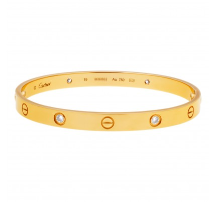 """Cartier """"Love"""" bracelet with 4 diamonds. Complete with Box, Screw Driver & Certificate of Origin dated 2019"""