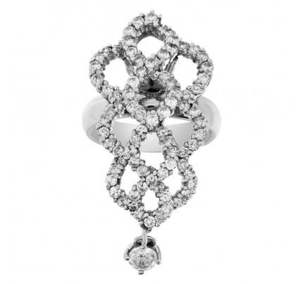 Fun dangling diamond ring in 14k white gold
