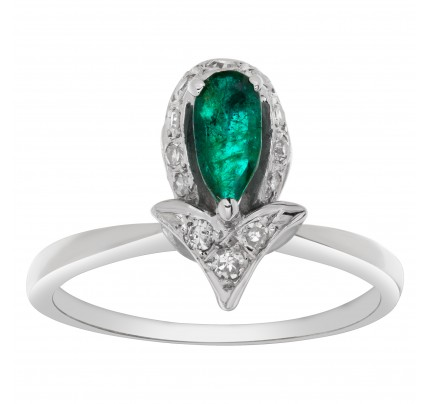 Tear drop Emerald ring with brilliant round cut accent diamonds set in 14k white gold