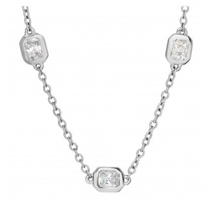 Radiant cut diamond by the yard necklace