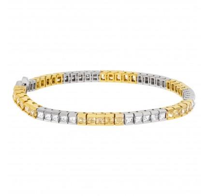 Princess cut diamond bracelet in 18k white and yellow gold