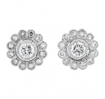 Flower Shaped Diamond Stud earrings full cut brilliant diamond total approx weight= 0.90 cts set in 18k white gold 10mm diameter