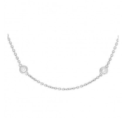 Diamond by the yard necklace 18k white gold