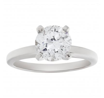 GIA certified round brilliant diamond 1.51 carat (G color, I1 clarity) ring