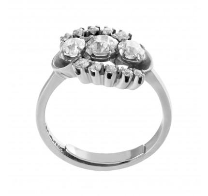 """Past, Present, Future"" 3 European cut diamond ring set in 14K white gold"