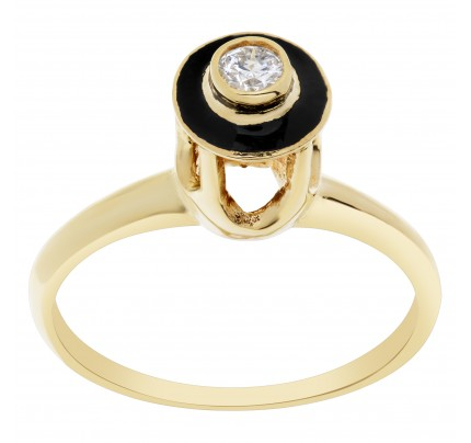 Diamond and black enamel 14k yellow gold ring