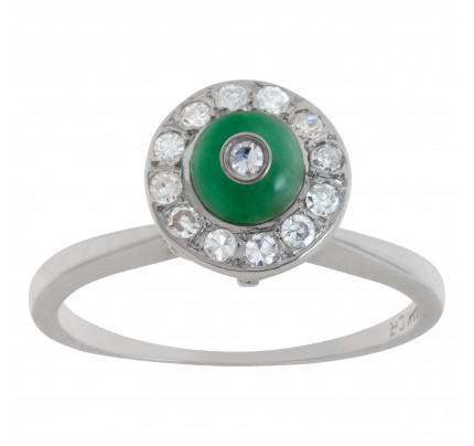 Diamond and Jade ring in 14k white gold