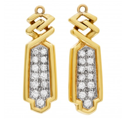 Pair of diamond earrings extension in 18k yellow gold
