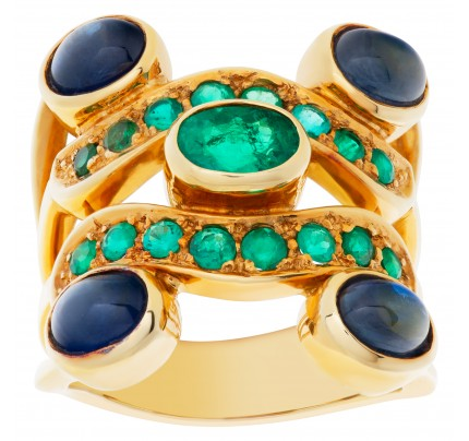 Emerald and sapphire ring in 18k