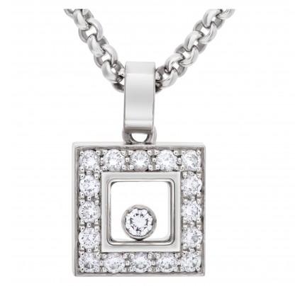 "Chopard ""Happy Diamond"" Square pendant necklace in 18k white gold"