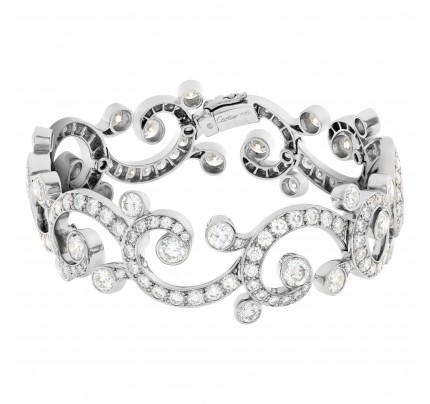 Cartier diamond bangle bracelet in platinum