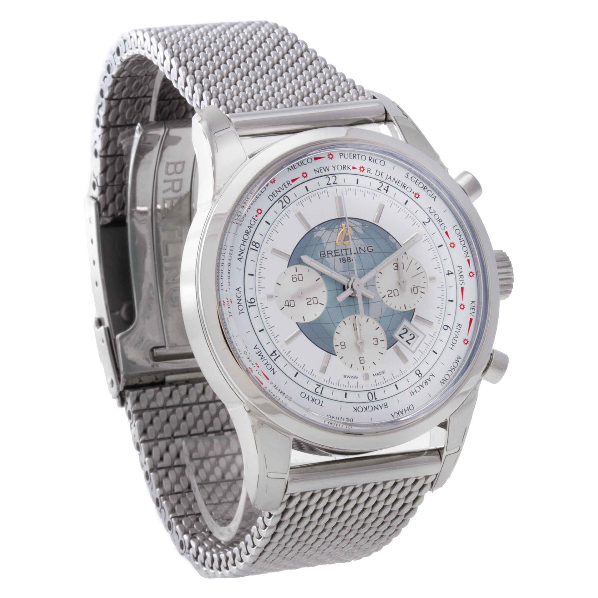 8a54390154d Details about Breitling Transocean Chronograph AB0510 stainless steel White  dial 46mm auto.