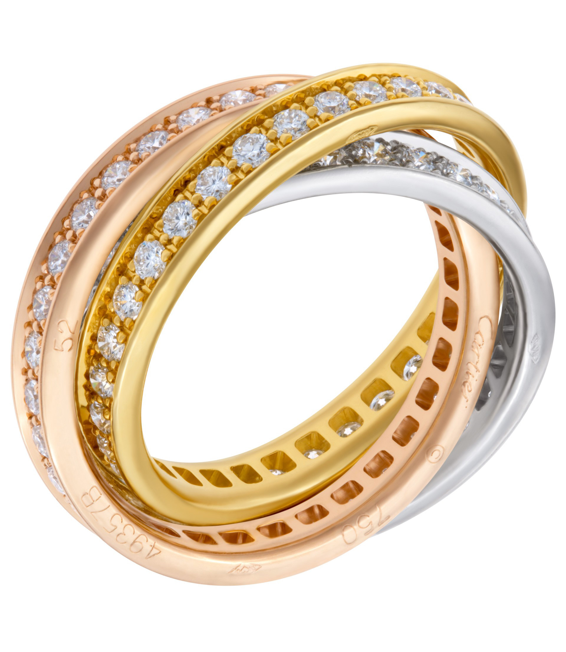 rings cartier tri karat cowan dwt lot color in s gold trinity