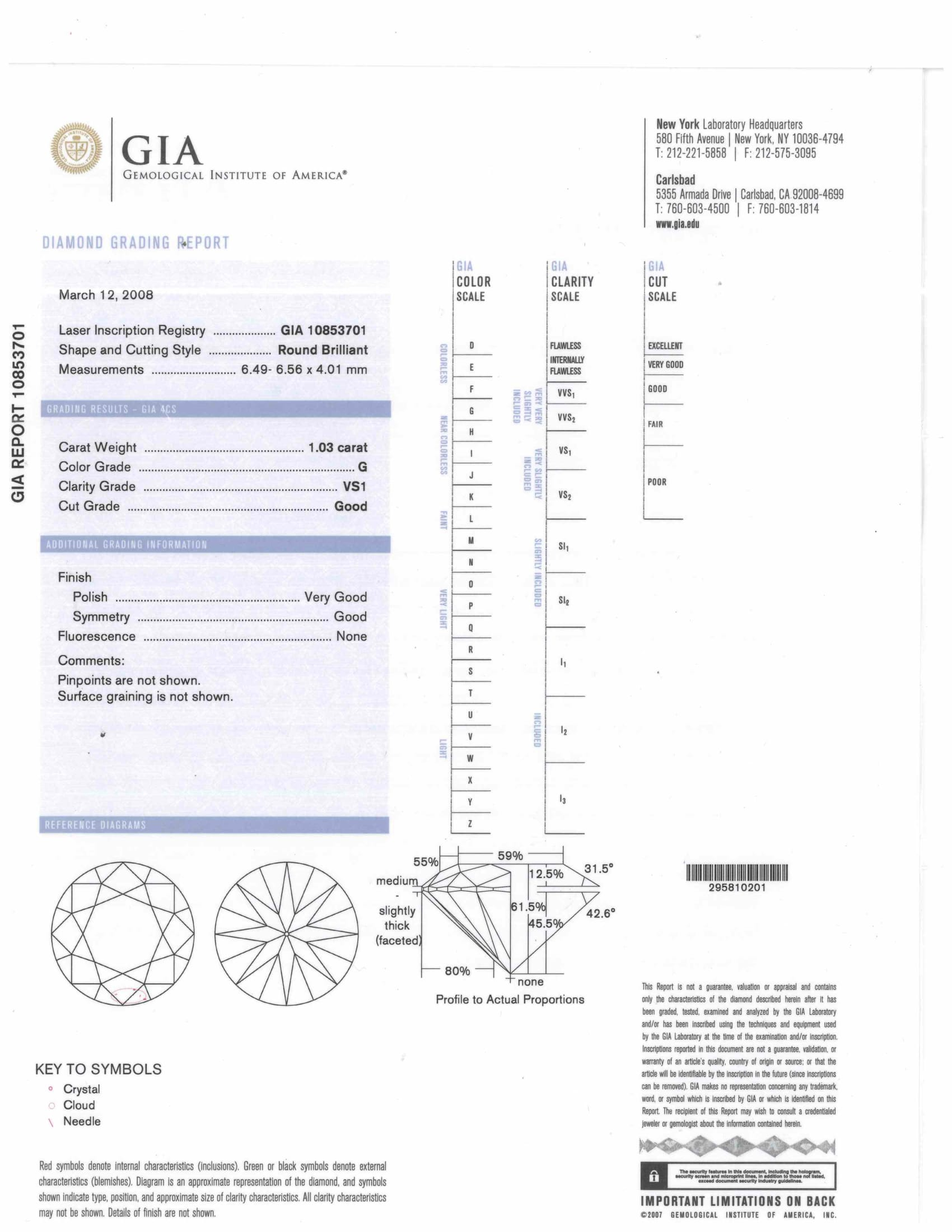 Gia certified loose diamonds for sale buy real diamonds gray a gia certified round diamond 103 cts g color vs1 clarity xflitez Image collections