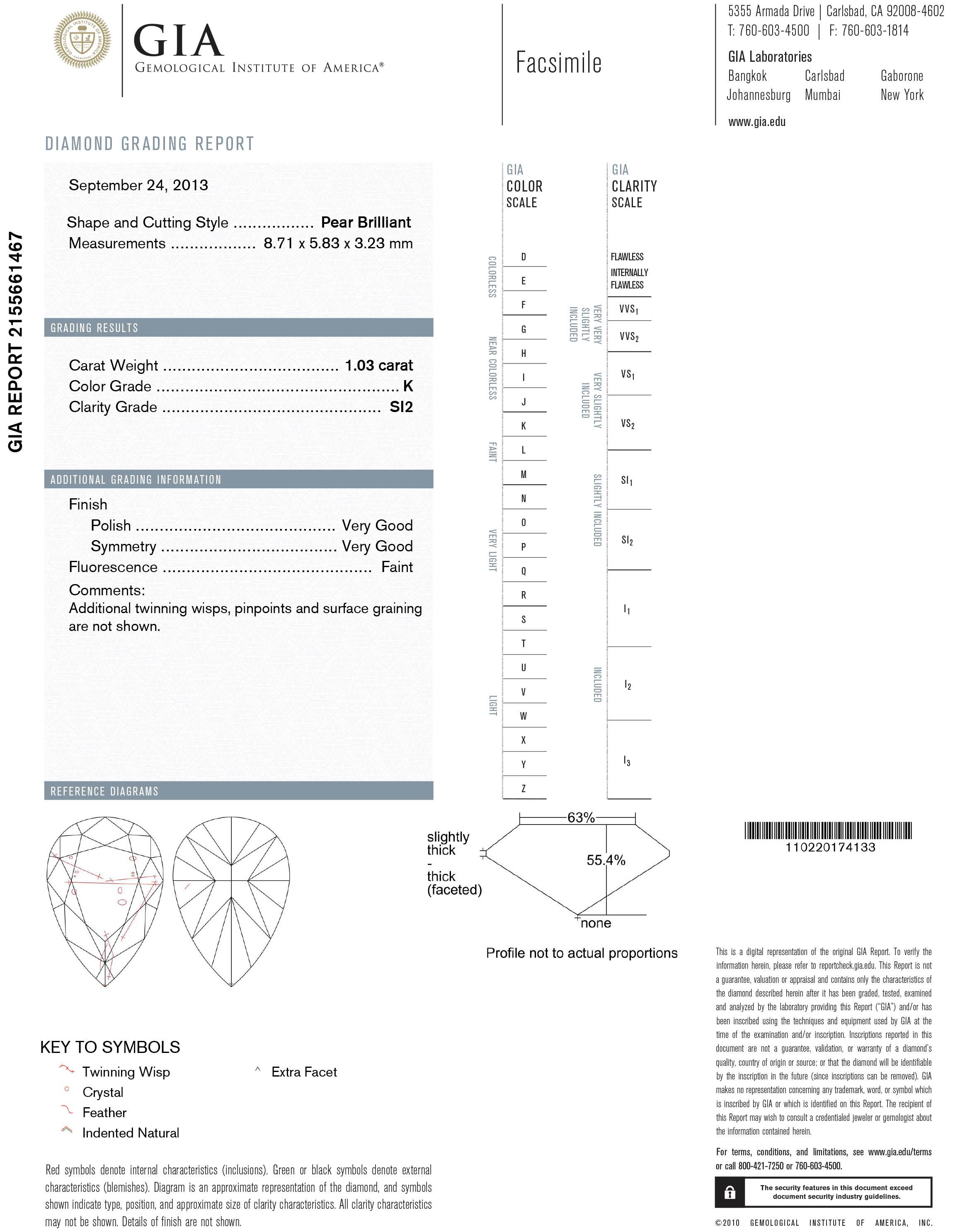 Pear diamond s512223d